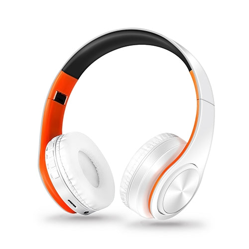 Headphones Bluetooth Headset Earphone Wireless Headphones Stereo Foldable Sport Earphone Microphone Headset Handfree MP3 Player(White Orange)