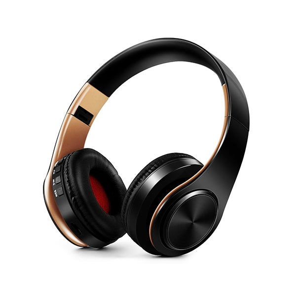 HIFI Stereo Wireless Bluetooth Headphone for Xiaomi iPhone Sumsamg Tablet, with Mic, Support SD Card & FM(Golden black)