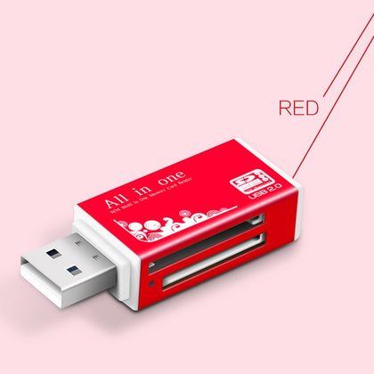 Multi in 1 Memory SD Card Reader for Memory Stick Pro Duo Micro SD,TF,M2,MMC,SDHC MS Card(Red)