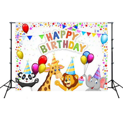 2.1m x 1.5m Children Birthday Theme Party Animal Cartoon Photography Background Cloth