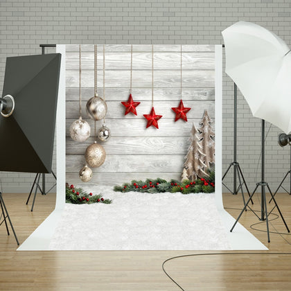 1.5m x 2.1m Snow Ground Wooden Wall Party Festival Setting Photography Background Cloth