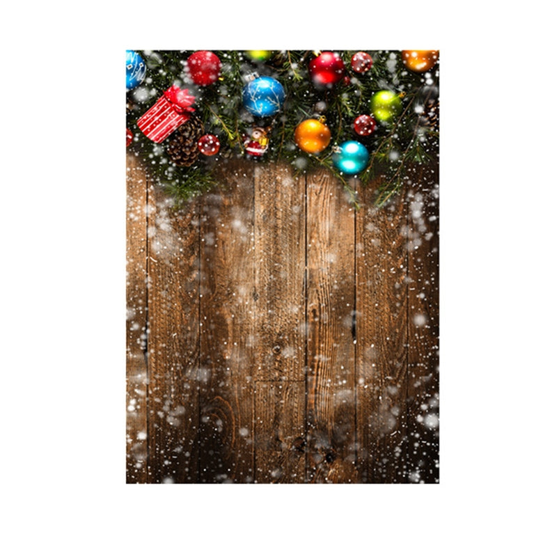 1.5m x 2.1m Nostalgic 3D Snow Scene Wooden Wall Children Photography Background Cloth