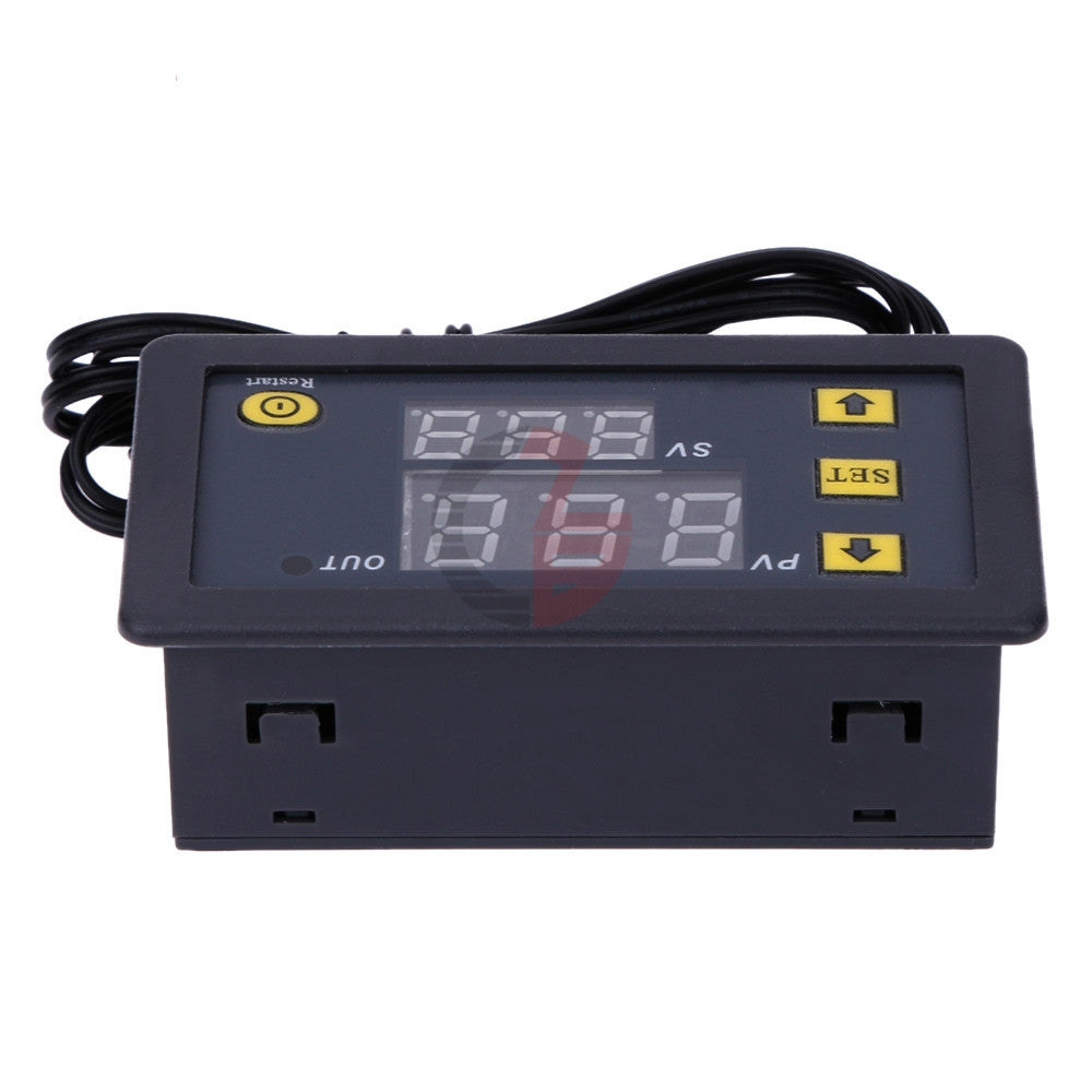 High-precision Microcomputer Intelligent Digital Display Switch Thermostat, Style:12V Power Supply(Red and Green Display)