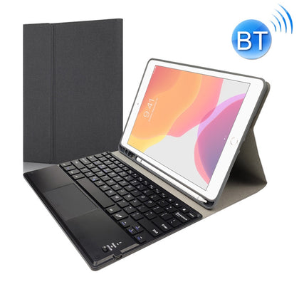 RK102C Detachable Magnetic Plastic Bluetooth Keyboard with Touchpad + Silk Pattern TPU Protective Cover for iPad 10.2, with Pen Slot & Bracket(Black)