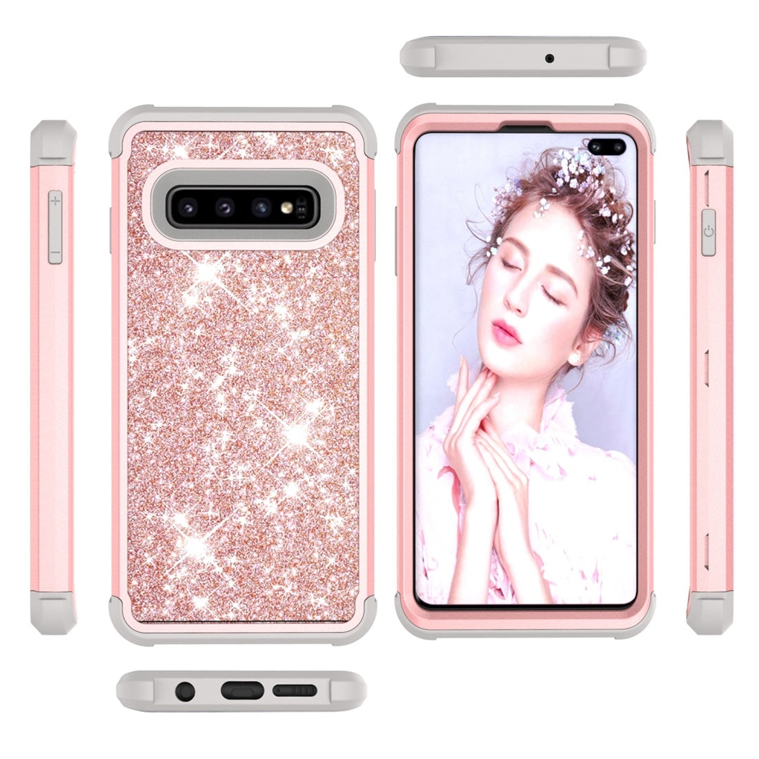 Glitter Contrast Color Silicone + PC Shockproof Case for Galaxy S10+ (Rose Gold+Grey)