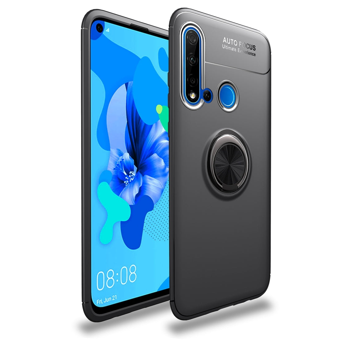 Shockproof TPU Case for Huawei Nova 5i / P20 Lite (2019), with Invisible Holder (Black)