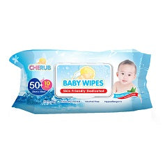 Cherub Baby Wipes Unscented 50's