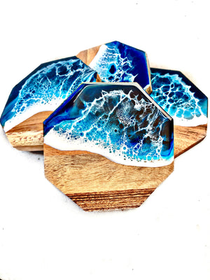 Acacia Wood Octagon Coasters