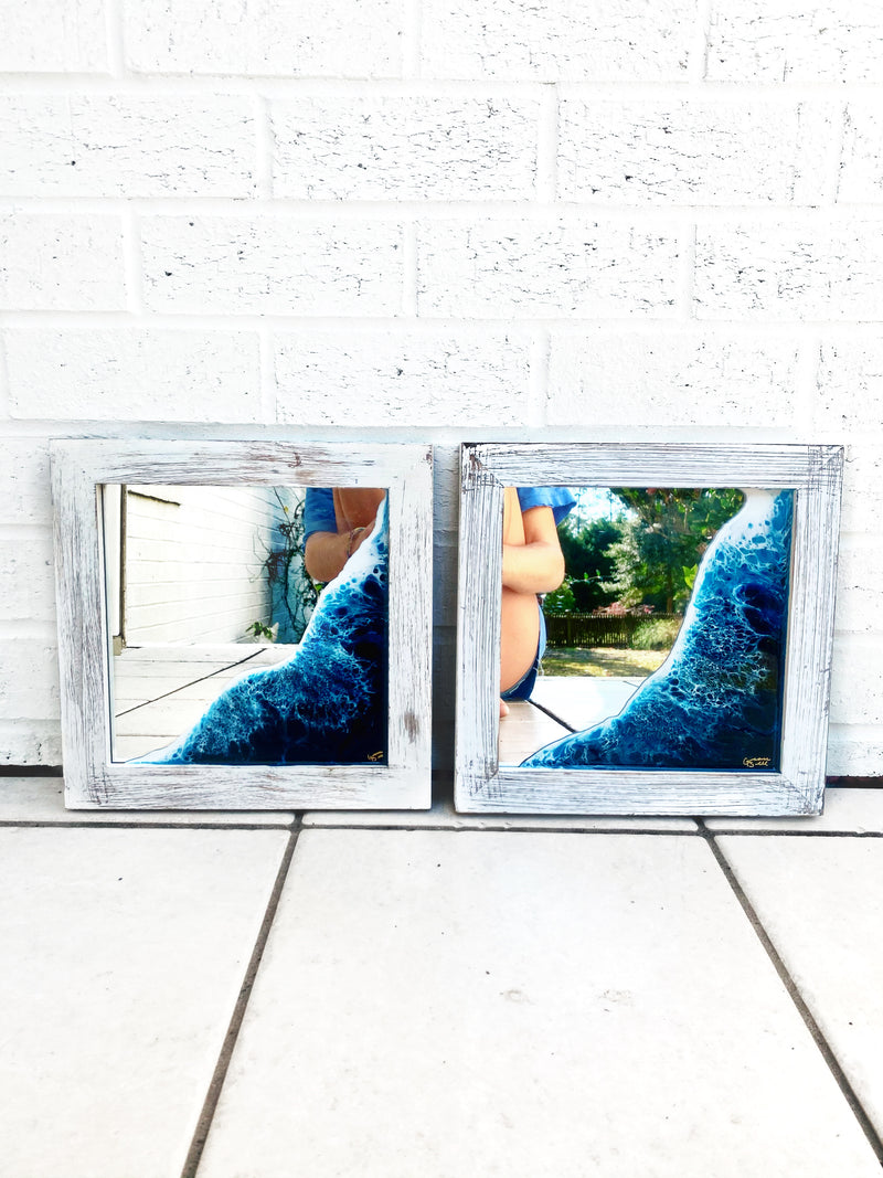 White Washed 12x12 Mirror