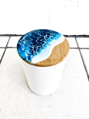 Custom Porcelain Container with Bamboo Lid