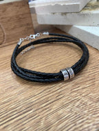 Mens personalized genuine leather bracelet
