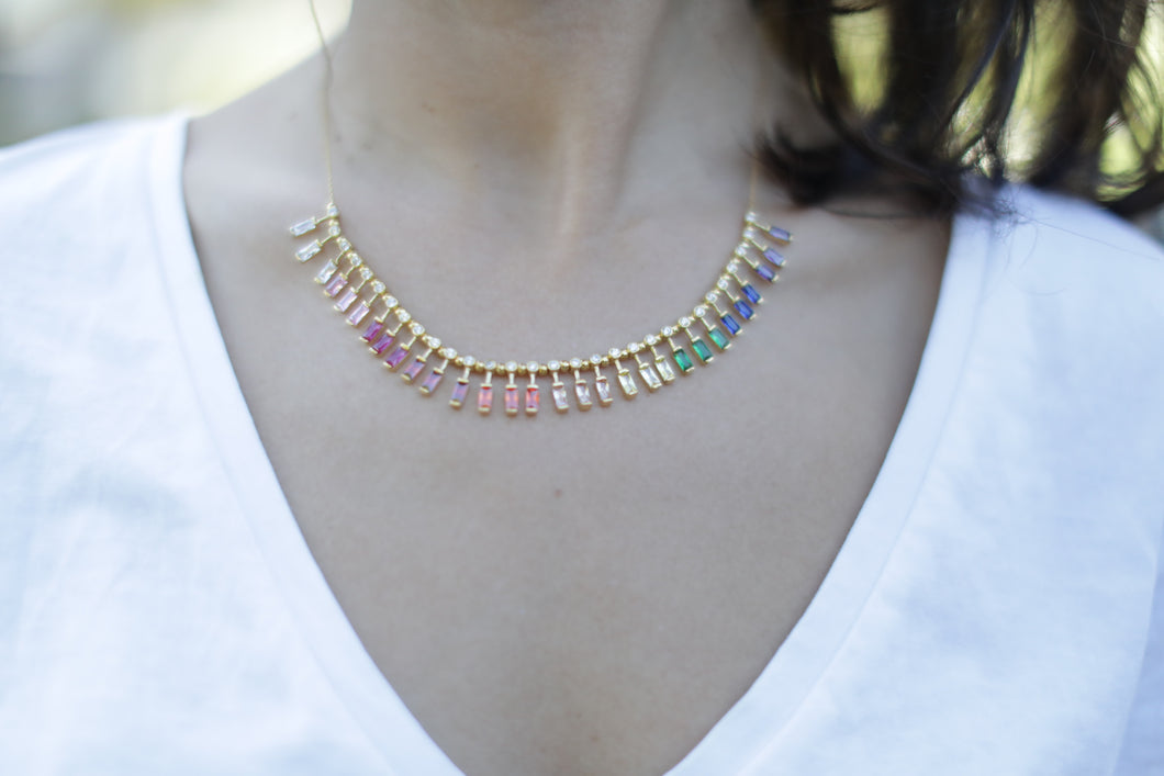 Baguette Rainbow necklace - 18kt Gold Plated