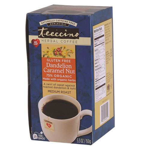 Teeccino 75% Organic Herbal Coffee Dandelion Caramel Nut X 25 Tea Bags