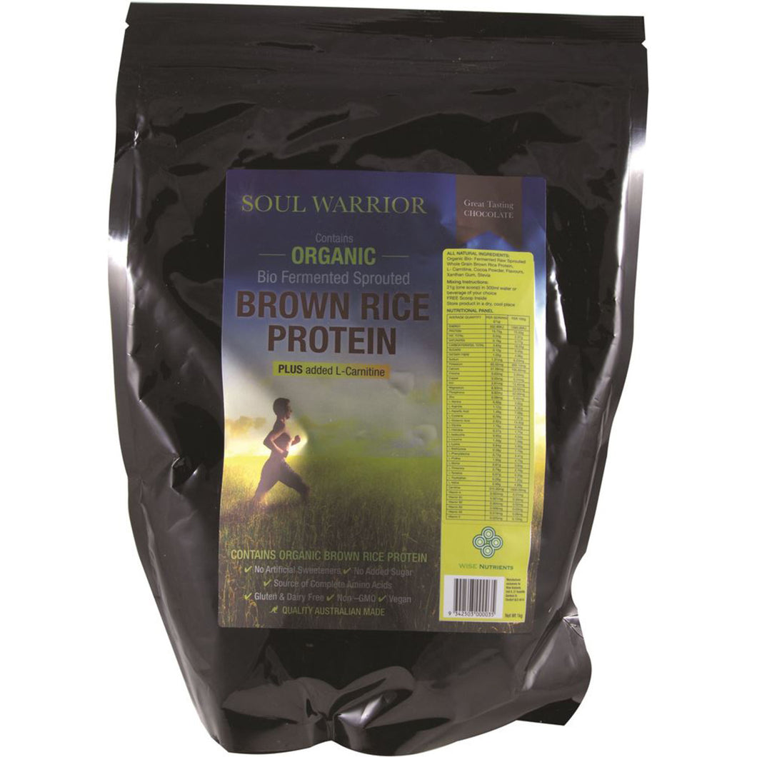Wise Nutrients Soul Warrior Organic Brown Rice Protein Chocolate Plus L-Carnitine 1Kg