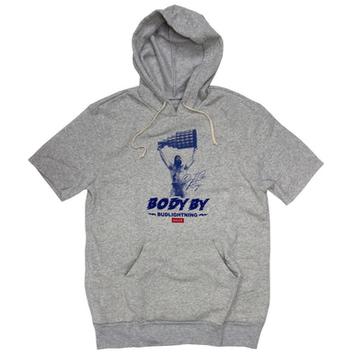 BODY BY BUD LIGHTNING (LIGHT GREY SHORT SLEEVE HOODIE)