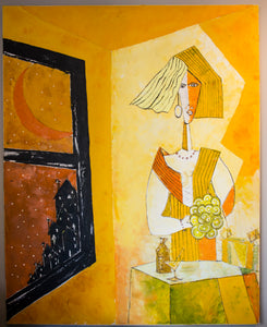 Original Oil on Canvas: Woman in Yellow by Unknown Artist (20th Century)