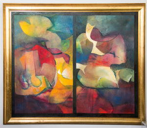 Original Acrylic on Canvas: Pair of Cubistic Figures by Franz Kempf