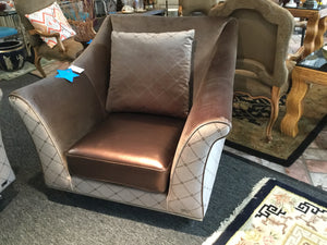 Velvet and Pleather Lounge Chair