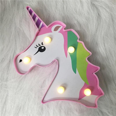 Veilleuse Licorne Multicolore Rose