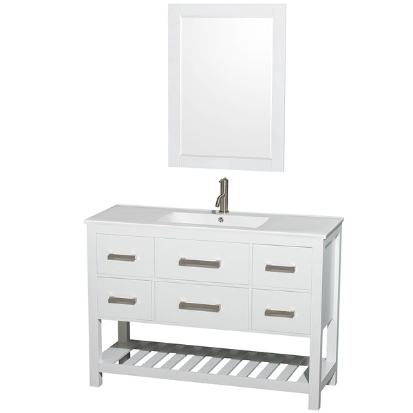 Wyndham Collection Natalie 48 In. Single Bathroom Vanity In White, White Porcelain Countertop, Integrated Sink, And 24 In. Mirror