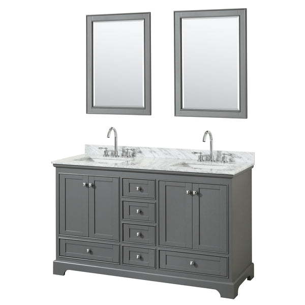 "Wyndham Collection Deborah 60"" Double Bathroom Vanity Dark Gray"