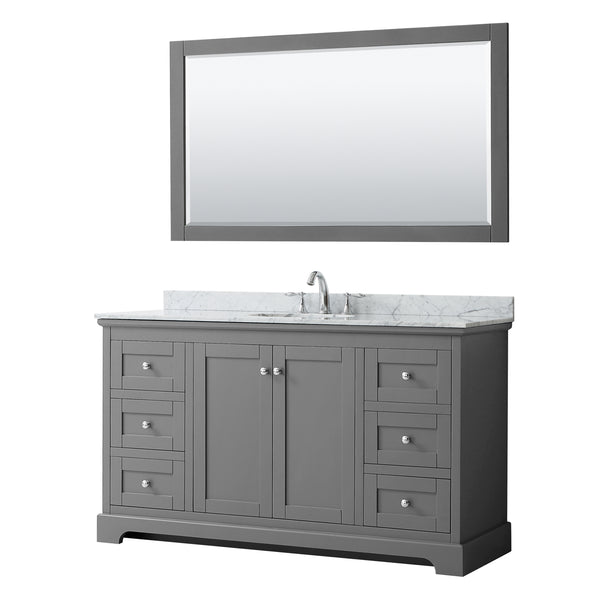 "Wyndham Collection Avery 60"" Single Bathroom Vanity Dark Gray"
