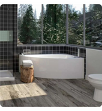 "Produits Neptune Wind 60"" White Customizable Corner Bathtub with Tiling Flange and Skirt WI60D"