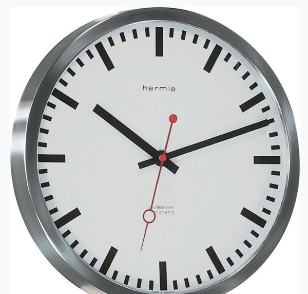 Hermle Grand Central Stainless Steel Round Wall Clock