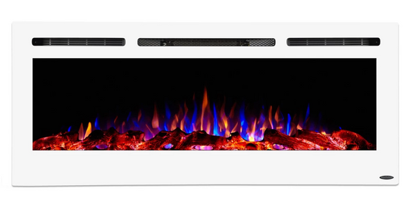 "Touchstone Sideline White 50"" Recessed Electric Fireplace 80029"