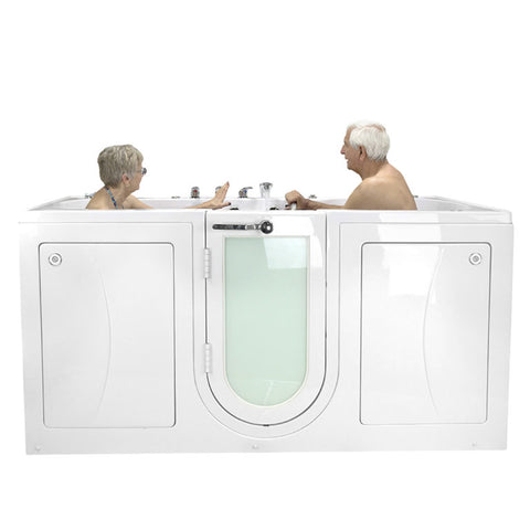 Ella Bubbles Big4Two Two Seat Acrylic Outward Swing Door Walk-In Bathtub with Independently Operated Foot Massage O2SA3680TF