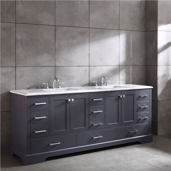 Eviva Storehouse 84 Inch Dark Grey Bathroom Vanity With Luxurious Whit Admired Home