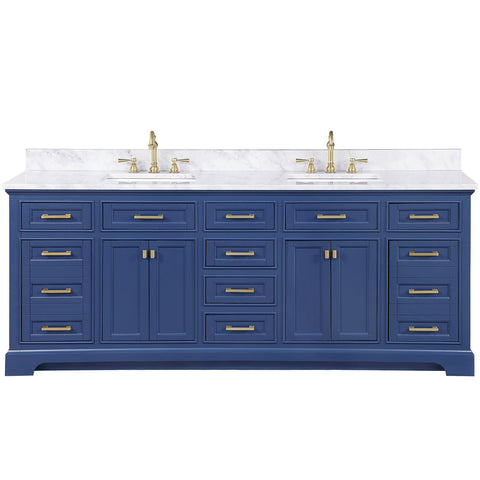"Design Element Milano 84"" Double Sink Vanity in Blue ML-84-BLU"