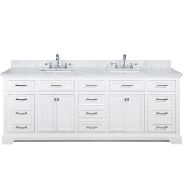 "Design Element Milano 84"" Double Sink Vanity in White ML-84-WT"