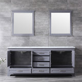 "Lexora Dukes 80"" Dark Grey Double Vanity, White Carrara Marble Top, White Square Sinks and 30"" Mirrors LD342280DBDSM30"