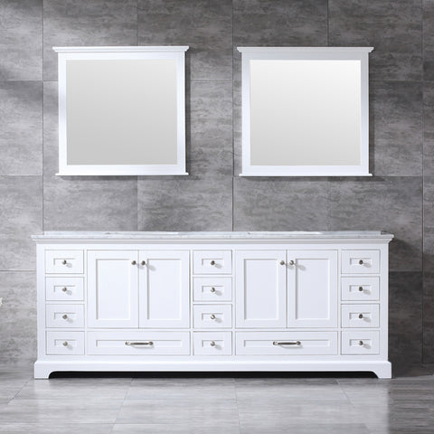 "Lexora Dukes 84"" White Double Vanity, White Carrara Marble Top, White Square Sinks and 34"" Mirrors LD342284DADSM34"