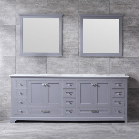 "Lexora Dukes 84"" Dark Grey Double Vanity, White Carrara Marble Top, White Square Sinks and 34"" Mirrors LD342284DBDSM34"