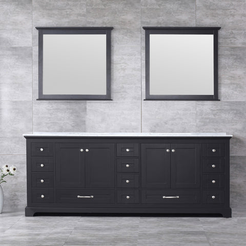 "Lexora Dukes 84"" Espresso Double Vanity, White Carrara Marble Top, White Square Sinks and 34"" Mirrors LD342284DGDSM34"
