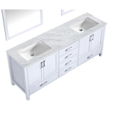 "Lexora Jacques 80"" White Double Vanity, White Carrara Marble Top, White Square Sinks and 30"" Mirrors  LJ342280DADSM30"
