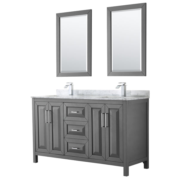 "Wyndham Collection Daria 60"" Double Bathroom Vanity  Dark Gray"