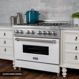 "ZLINE 36"" Professional Dual Fuel Range in Snow Stainless with Black Matte Door RAS-BLM-36"
