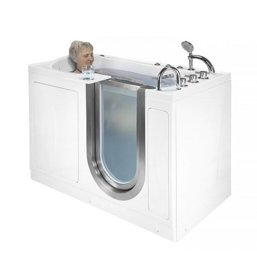 "Ella Bubbles Elite Acrylic Air and Hydro Massage Walk-In Bathtub with Inward Swing Door, Thermostatic Faucet, 2"" Dual Drain, 4-Fold Shower Screen 931074F"