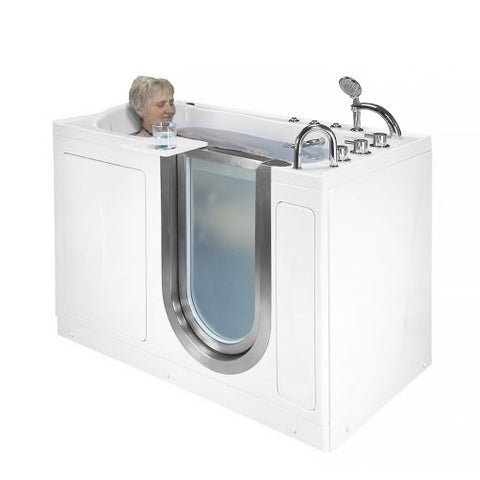 "Ella Bubbles Elite Acrylic Hydro Massage and Heated Seat Walk-In Bathtub with Inward Swing Door, Thermostatic Faucet, 2"" Dual Drain HH3107"
