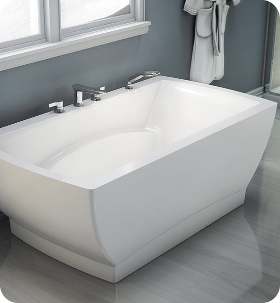 "Produits Neptune Believe 65"" White Customizable Back-to-Wall Rectangular Bathtub BE3666F"