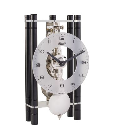 Hermle Mikal Rectangular Table Clock with Aluminum Pillars and Silver Pendulum
