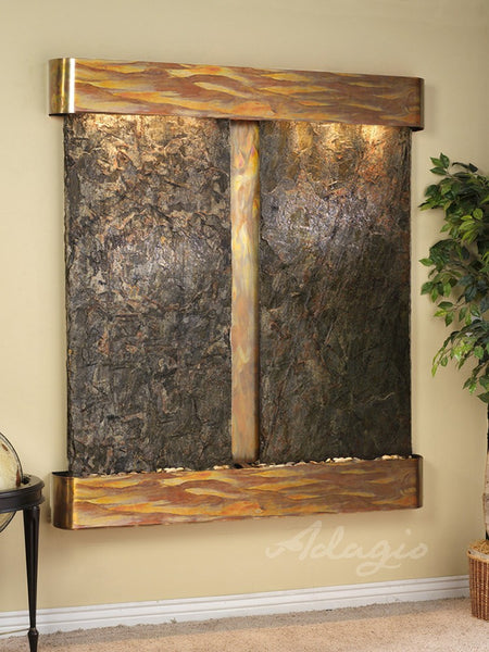 Adagio Cottonwood Falls Round Rustic Copper Green Natural Slate CFR1002