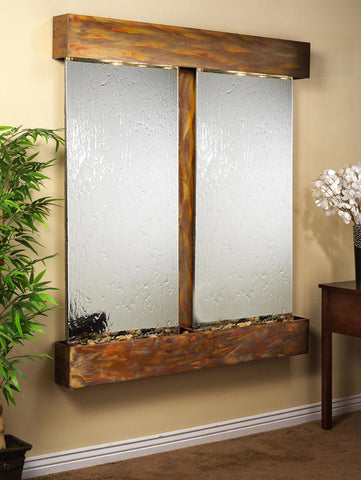 Adagio Cottonwood Falls Square Rustic Copper Silver Mirror CFS1040