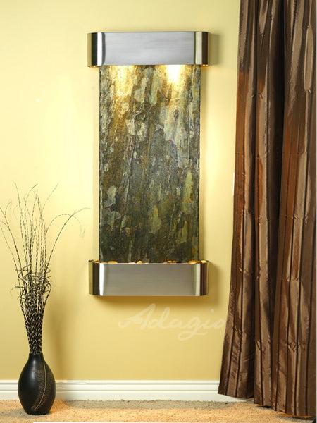 Adagio Cascade Springs Round Stainless Steel Green Natural Slate CSR2002
