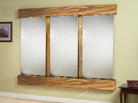 Adagio Deep Creek Falls Square Rustic Copper Silver Mirror DCS1040