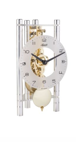 Hermle Lakin Triangular Table Clock with Aluminum Pillars and Brass Pendulum