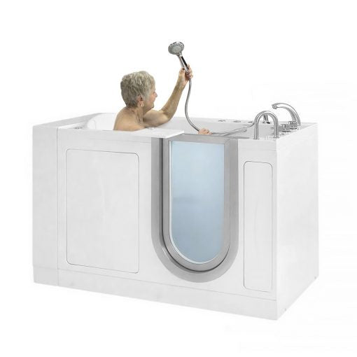 "Ella Bubbles Royal Acrylic Dual Massage and Heated Seat Walk-In Bathtub with Inward Swing Door, Thermostatic Faucet, 2"" Dual Drain H93117"